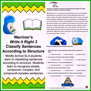 Warriner's Write it Right 3: Classify Sentences according to Structure. Simple, Compound, Complex, Compound-Complex. Available at Warriner's English and Composition Classroom: https://www.teacherspayteachers.com/Store/Warriners-English-And-Composition-Classroom