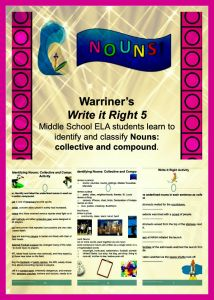 Warriner's Write it Right 5: Compound and Collective Nouns. Middle School ELA students. Activities, Rubrics, Handouts included. Available at Warriner's English and Composition Classroom: https://www.teacherspayteachers.com/Store/Warriners-English-And-Composition-Classroom