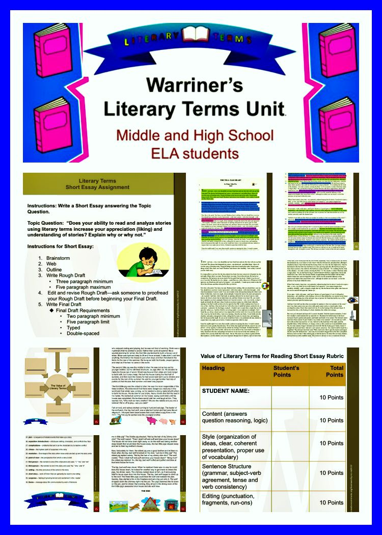 Literary terms for middle school