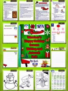 Warriner's Happy Holiday Season Writing and Artwork Unit for Middle School ELA students. Available at my TpT Store: Hit my TpT Store button at warrinersclassroom.com